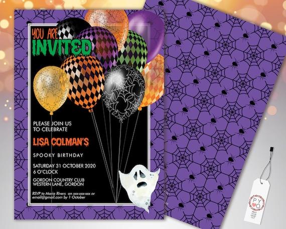 Halloween Spiderweb Balloons Birthday Invitation Printable Template, Pumpkin Party, Printable Spooky Fright Night Invite, Purple Web Invite
