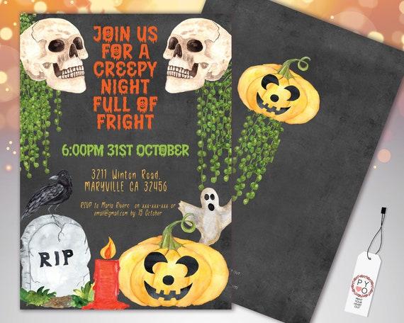 Halloween Skulls Vine Invitation Printable Template, Pumpkin Party Invite, Printable Spooky Fright Night Invite, RIP Chalkboard Invite