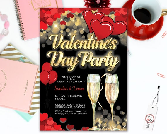 Gold Champagne Valentine's Day Party Invitation, Red Hearts, Sweetheart Invitation, Lonely Hearts Invite, Valentine Flyer, Friends Party