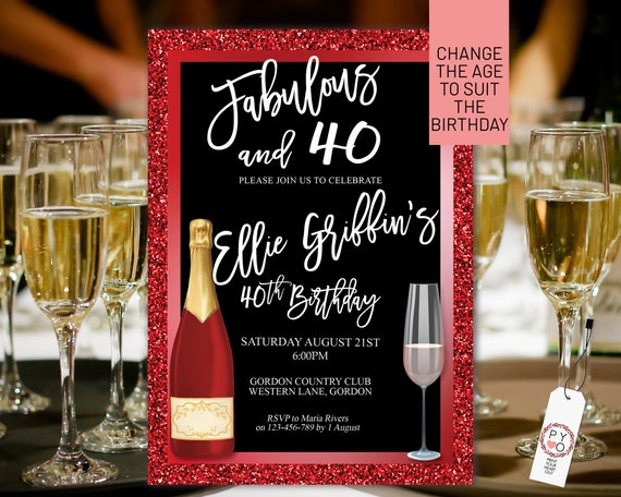 Any Age Red Glitter Gold Birthday Champagne Glass Invitation Printable Template, Scarlet White Editable Elegant Dinner Women, Printable Card