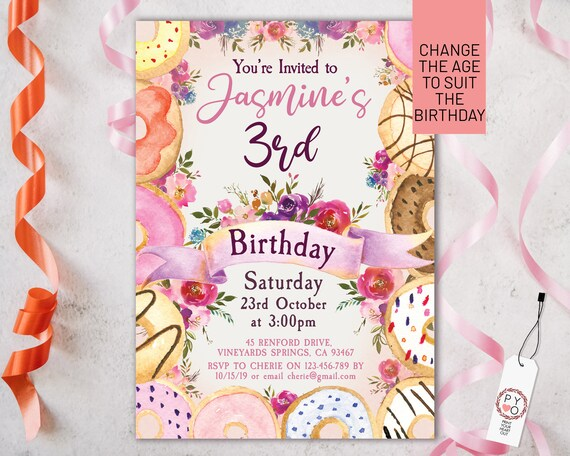 Birthday Donut Party Invitation Printable Template, Editable Invitation, Sweet Dessert Birthday, Tea Party, Donut Any Age Editable Invite