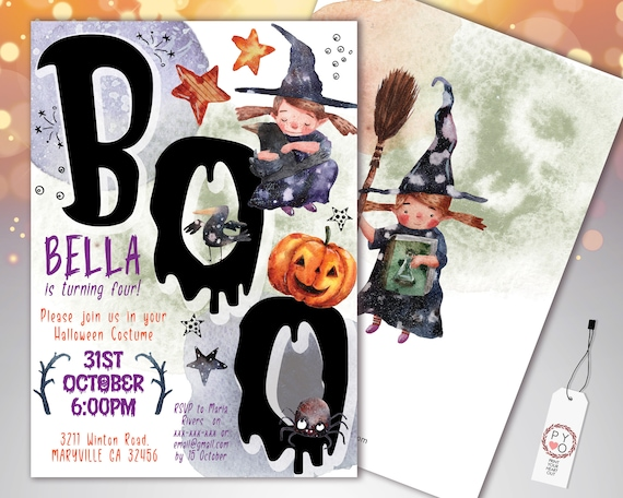 Halloween Boo Text Witch Kids Invitation Printable Template, Pumpkin Party Invite, Printable Spooky Fright Night Invite, Halloween Birthday