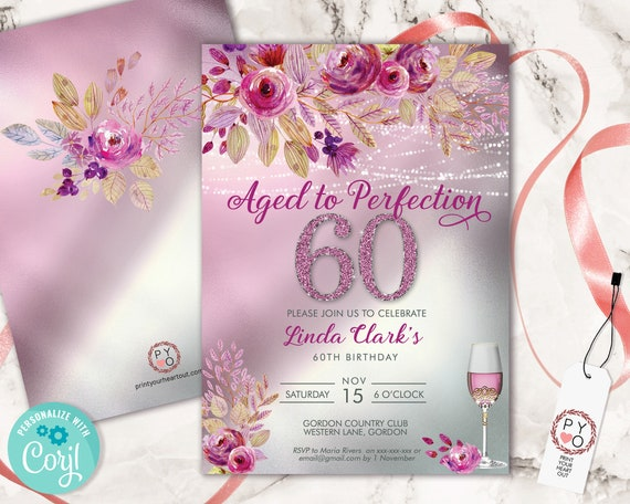 60 Aged to Perfection Wine Floral Birthday Invitation Printable Template, Editable Birthday Party Invitation, Printable Pink Glitter Invite