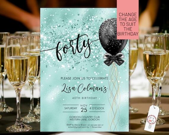 DIY Any Age Birthday Aqua Glitter Invitation Printable Template, Turquoise Glitter Editable Birthday Party Invitation for Women, Balloons