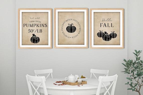 Vintage Fall Pumpkin Art Print Set | Printable Pumpkin Patch Art | Art Print | Hello Fall Art | DIY Living Room Wall Art | Set 3 Prints