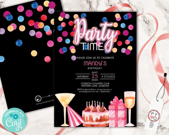 DIY Party Time Birthday Confetti Drinks Invitation Printable Template, Black Pink Editable Birthday Party Invitation for Any Age, Invite