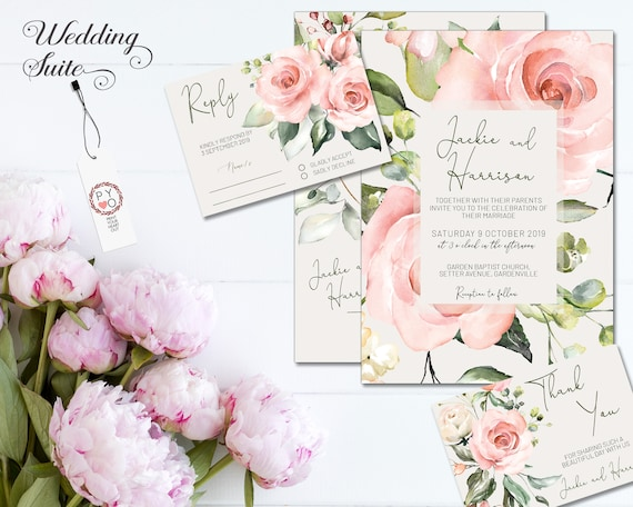 Floral Wedding Invitation • Peach Ivory Cream Pink • Summer Spring • Flower • Invite • Save the Date • Thank You • Blush Rose Series