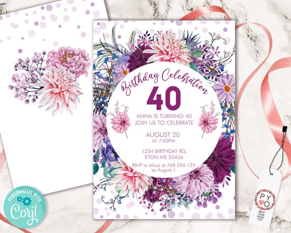 Pink Purple Flowers White Invitation Printable Template, Mauve Lilac Confetti Editable Birthday Party for Women Girl, Lavender Floral Invite