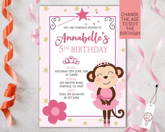 Pink Ballet Monkey Birthday Invitation Printable Template, Editable Invitation, Any Age Birthday, Cheeky Monkey Party, Girls Age Birthday