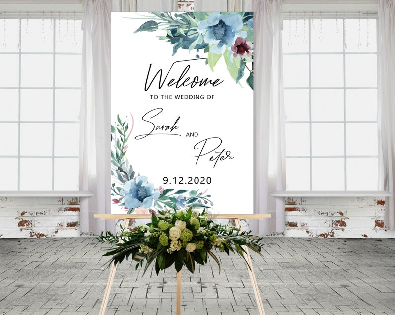 Blue Floral Wedding Sign  Pastel Welcome Wedding Sign  image 0