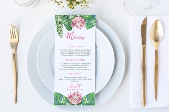 King Protea Wedding Menu, DIY Editable Menu, Menu Cards, Printable Menu, Pink Protea Wedding Menu, Party Menu, Menu Download, Tropical Menu