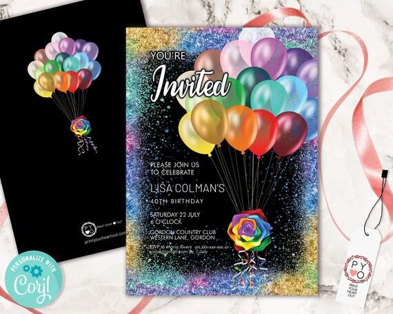 Rainbow Birthday Balloons Invitation Printable Template, Celebration Editable Drinks Cocktails Party Card,  LBGT  Printable Glitter Invite