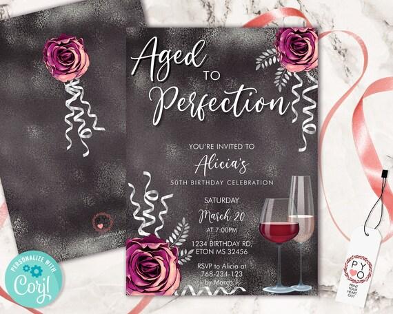 Wine Birthday Invitation Black Grey Template, Aged to Perfection Rose Editable Birthday Party Invite Women, Printable Champagne Glass Invite