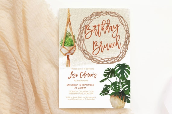 Boho Plants Garden Birthday Invitation, Modern Hanging Baskets Brunch Invitation, Printable Lunch Dinner Party, Tropical Editable Template