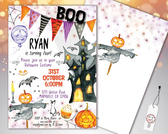 Halloween Boo Banner Flag Kids Invitation Printable Template, Pumpkin Party Invite, Printable Spooky Fright Night Invite, Halloween Birthday