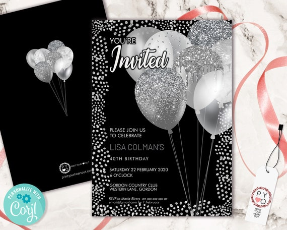 Silver Birthday Balloons Invitation Printable Template, Black Silver Glitter Editable Birthday Party Invitation for Women, Printable Card