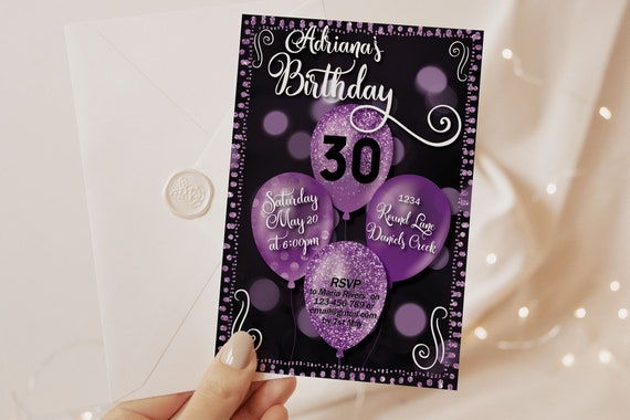 Any Age Purple Birthday Balloons Invitation Printable Template, Black Glitter Editable Text Lavender Birthday Party Invite, Printable Card