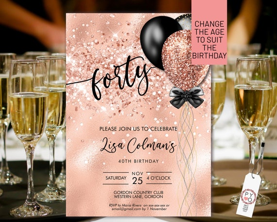 DIY Any Age Birthday Rosegold Glitter Invitation Printable Template, Gold Glitter Editable Birthday Party Invitation for Women, Balloons