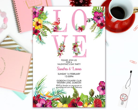 Love Tropical Valentine's Day Party Invitation, Hibiscus, Sweetheart Invitation, Summer Valentines Invite, Valentine Flyer, Friend Party