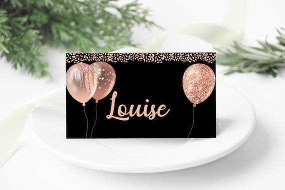 Black Rosegold Balloons Placecard Template, DIY Editable Cards, Printable Table Setting, Birthday Dinner Card Download, Glitter Placecard