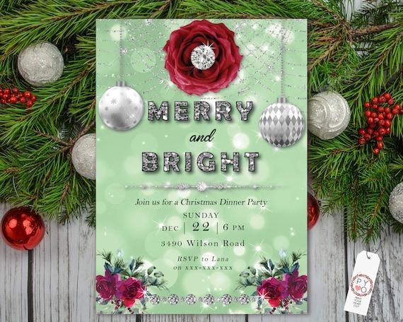 Christmas Roses Green Diamonds Party Invitation, Glitter Invitation, Sparkling Invite, Friends Family Xmas Party at Home, Shimmering Bokeh