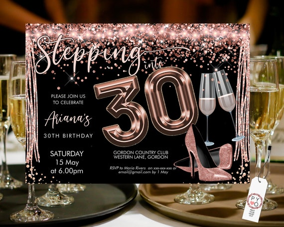 Stepping into 30 Birthday Invitation Printable Template, Horizontal RoseGold Heels Blush Champagne Party Women, Printable gold lights Invite