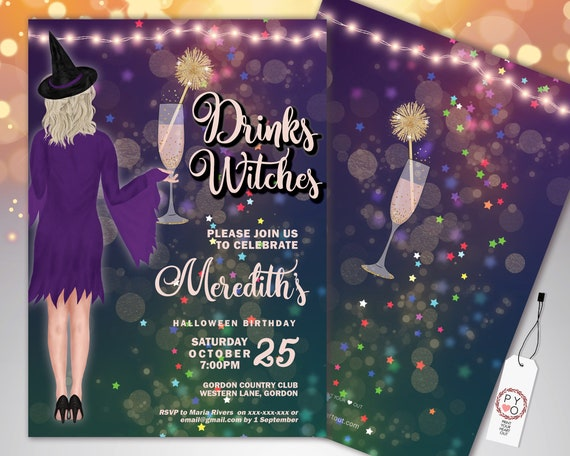 Halloween Drinks Witches Cocktail Party Birthday Invitation Printable Template, Adult Drinks Party Invite, Girls Witches Hats Purple Invite