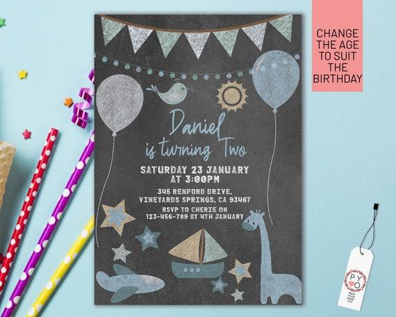 Chalkboard Blue Birthday Invitation Printable Template, Editable Invitation, Any Age Birthday, Blue Balloons Party, Boys Age Birthday