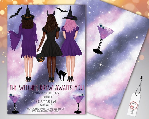 Halloween Cocktail Party Invitation Printable Template, Adult Drinks Party Invite, Purple Fright Night Invite, Girls Witches Brew Invite