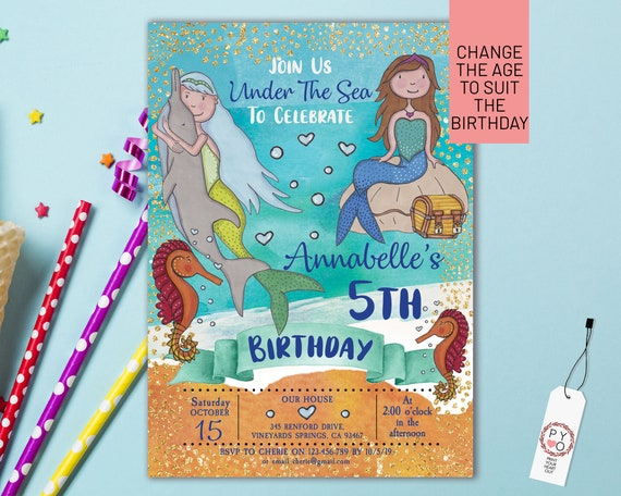 Mermaid Under Sea Birthday Invitation Printable Template, Editable Invitation, Any Age Birthday, Blue Mermaid Sea Party, Girls Age Birthday