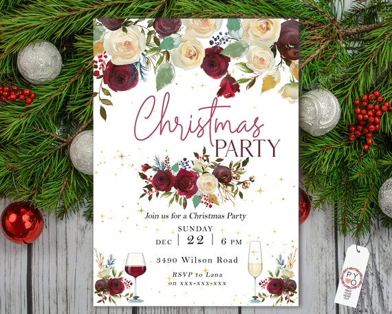 Floral Wine Christmas Party Invitation, Red Gold Flowers Invite, Friends Family Party Home, Champagne Xmas, Wine Glasses, Leaves Gold Stars