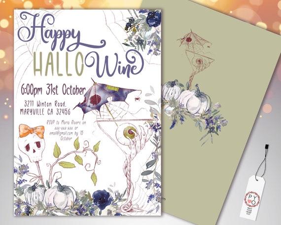 Halloween Wine Purple Party Invitation Printable Template, Adult Hallowine Party Invite, Printable Fright Night Invite, White Pumpkin Invite