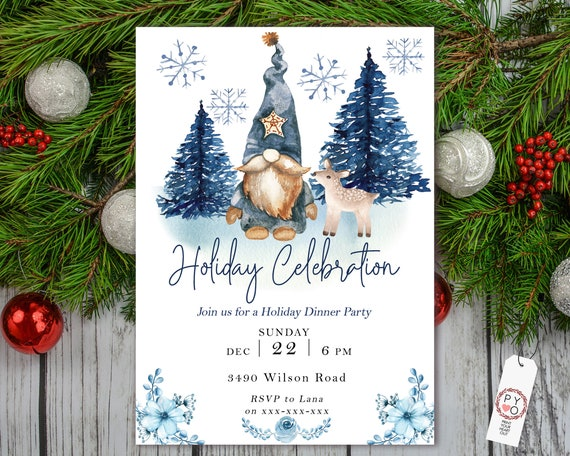 Blue Gnome Holiday Celebration Tree Party Invitation, Snow Invitation, Blue Winter Invite, Friends Family Party Home, Christmas Tree Scene