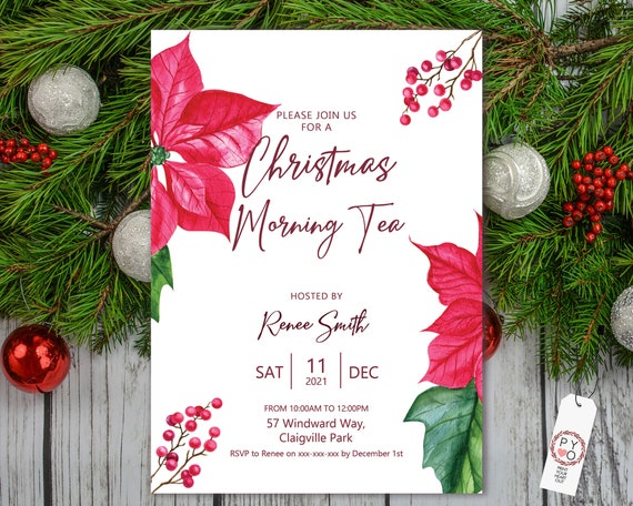 Red Poinsettia Christmas Party Invitation, Simple Elegant Invitation, Morning Tea Invite, Friends Family Xmas Party at Home, Lunch, High Tea