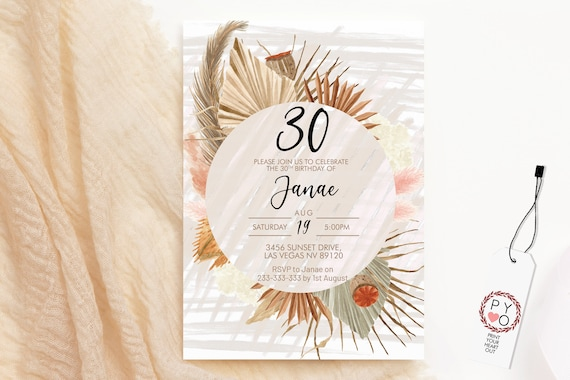 Pampas Grass Circle Birthday Invitation, Boho Dried Palm Leaf Invitation, Printable Lunch Dinner Party, Tropical Floral Editable Template