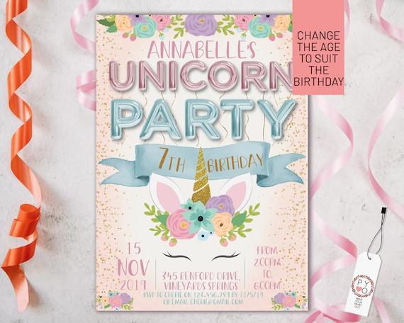 Pink Unicorn Foil Balloons Birthday Invitation Printable Template, Editable Invitation, Any Age Birthday, Pink Unicorn Party, Girls Birthday