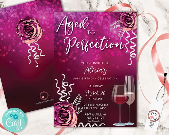 Wine Birthday Invitation Hot Pink Template, Aged to Perfection Rose Editable Birthday Party Invite Women, Printable Champagne Glass Invite