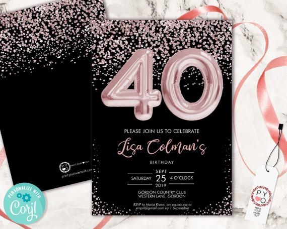 DIY 40th Birthday Pink Foil Balloon Confetti Invitation Printable Template, Black Pink Balloon Glitter Editable 40 Birthday Party Invitation