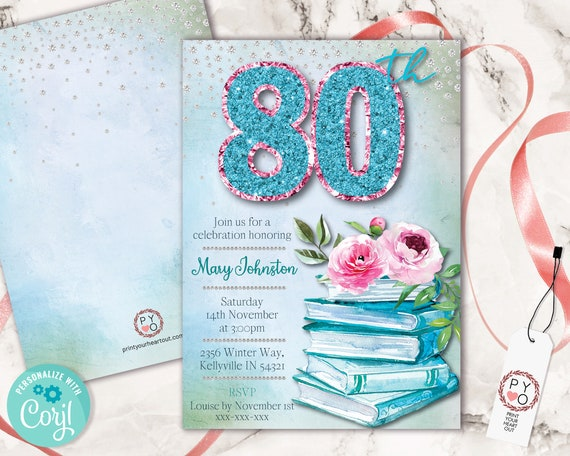 Aqua 80th Birthday Invitation Printable Template, Books Roses Pink Teal Editable Birthday Party Invitation for Women, Glitter Watercolor