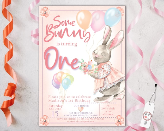 1st Birthday Some Bunny is One Invitation Printable Template, One Editable Invitation, Pink Rabbit Balloons First Birthday, Pastel Floral