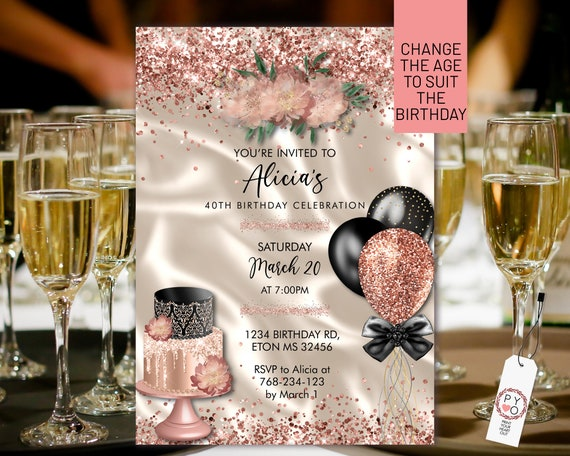 DIY Any Age Birthday Rosegold Cake Balloons Glitter Invitation Printable Template, Ivory Satin Editable Floral Party Invitation for Women