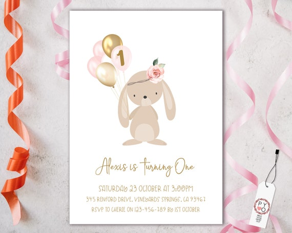 1st Birthday Bunny Balloons Invitation Printable Template, One Editable Invitation, Blush Rabbit Balloons First Birthday, Pastel Floral