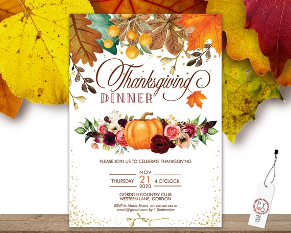 Thanksgiving Dinner Party Invitation, Floral Pumpkin Invite, Friends Family Party at Home, Turkey Dinner Invite, Fall Autumn Flowers Leaves