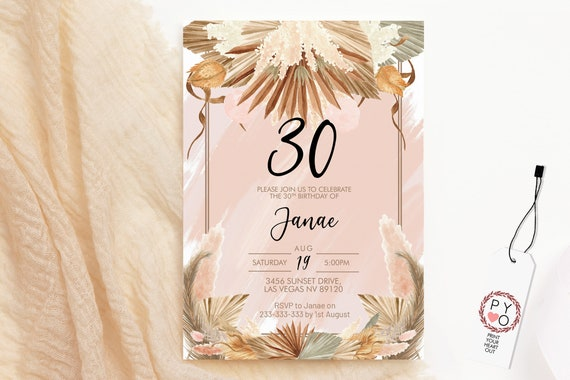 Pink Dried Foliage Birthday Invitation, Boho Palm Leaf Invitation, Printable Lunch Dinner Party, Tropical Floral Editable Template for Women