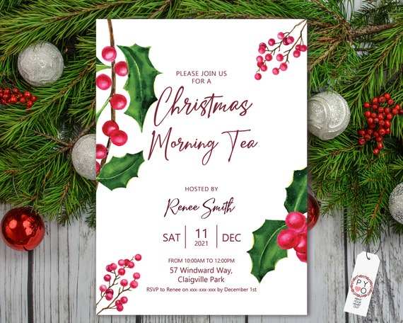 Red Holly Berry Christmas Party Invitation, Simple Elegant Minimal, Morning Tea Invite, Friends Family Xmas Party at Home, Lunch, High Tea