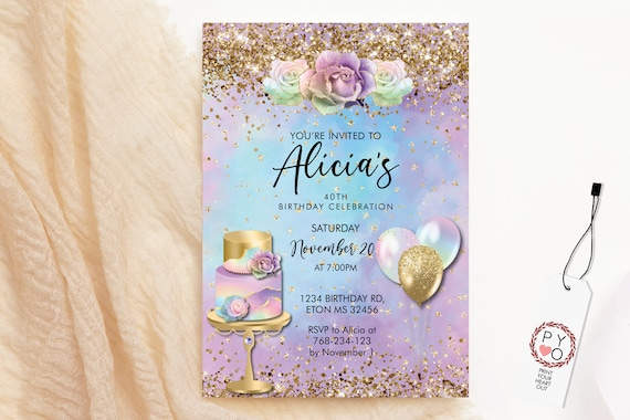 Any Age Birthday Pastel Rainbow Gold Glitter Cake Balloons Invitation Printable Template, Cotton Candy Editable Floral Women, Pretty Roses