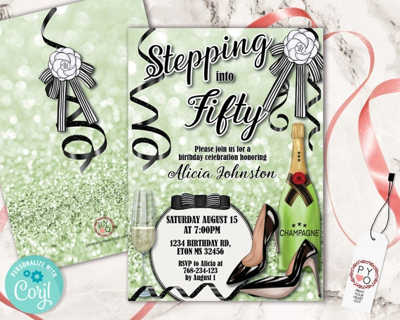 Stepping into Green Birthday Invitation Printable Template, Champagne Glitter Heels Editable Designer Party Invitation for Women, Printable