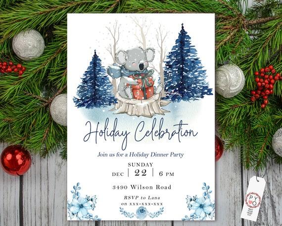 Koala Holiday Celebration Tree Party Invitation, Snow Invitation, Blue Winter Invite, Friends Family Party at Home, Christmas Tree Scene