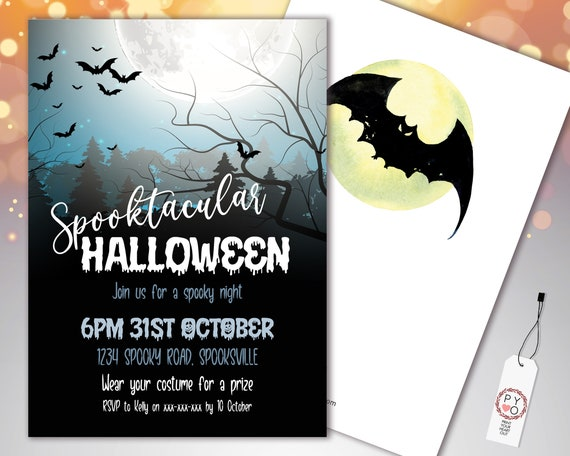 Halloween Spooktacular Invitation Printable Template, Adult Haunted House Party Invite, Printable Fright Night Invite, Moon Bats Invite