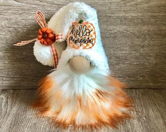 Hello Pumpkin Gnome |  Buffalo Plaid Pumpkin Gnome |  Fall Pumpkins Decor | Harvest Gnome | Tiered Tray Gnome